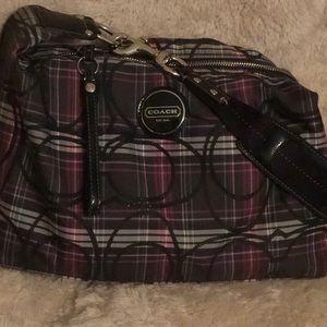 Coach Shoulder Plaid (pink,black) purse.